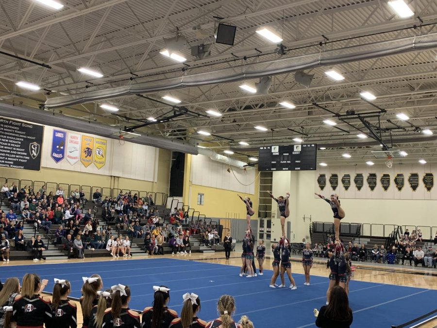 The varsity Sequoits perform their routine at Grayslake North for the NLCC conference competition.