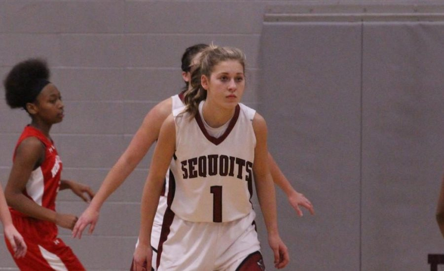 Freshman Jenna Pazdernik gets ready to play defense.