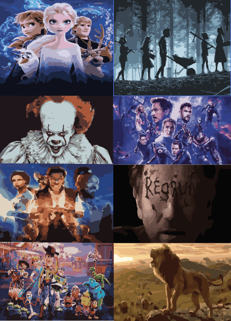 The+top+8+sequels+and+remakes+of+2019+also+have+artwork+which+has+become+widely+known.+Certain+color+schemes%2C+tones+or+characters+have+allowed+audiences+to+put+a+face+to+the+name+of+each+film.