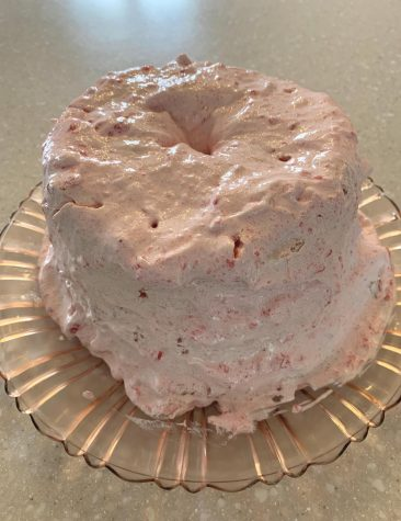Strawberry frosting gave the cake the best finishing touch.