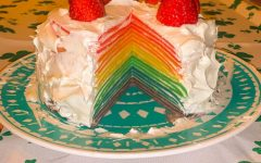 You can see the layers of the rainbow in the crepe cake. The colors make it look fun and appetizing.