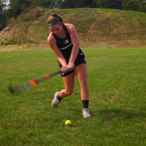 Senior Hailey Webb plays tennis until Field Hockey is back in season.