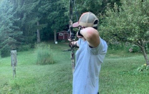 Caden Jimenez practices his shooting for the upcoming season.