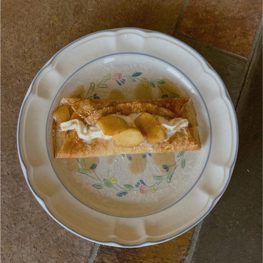Pictured is an apple crepes recipe made by staffer Izana Nordhaus. This autumn morning treat is a easy to make and is a fairly healthy and nutritous way to start off your day. You can have a great time while making this customizable recipe with your family.