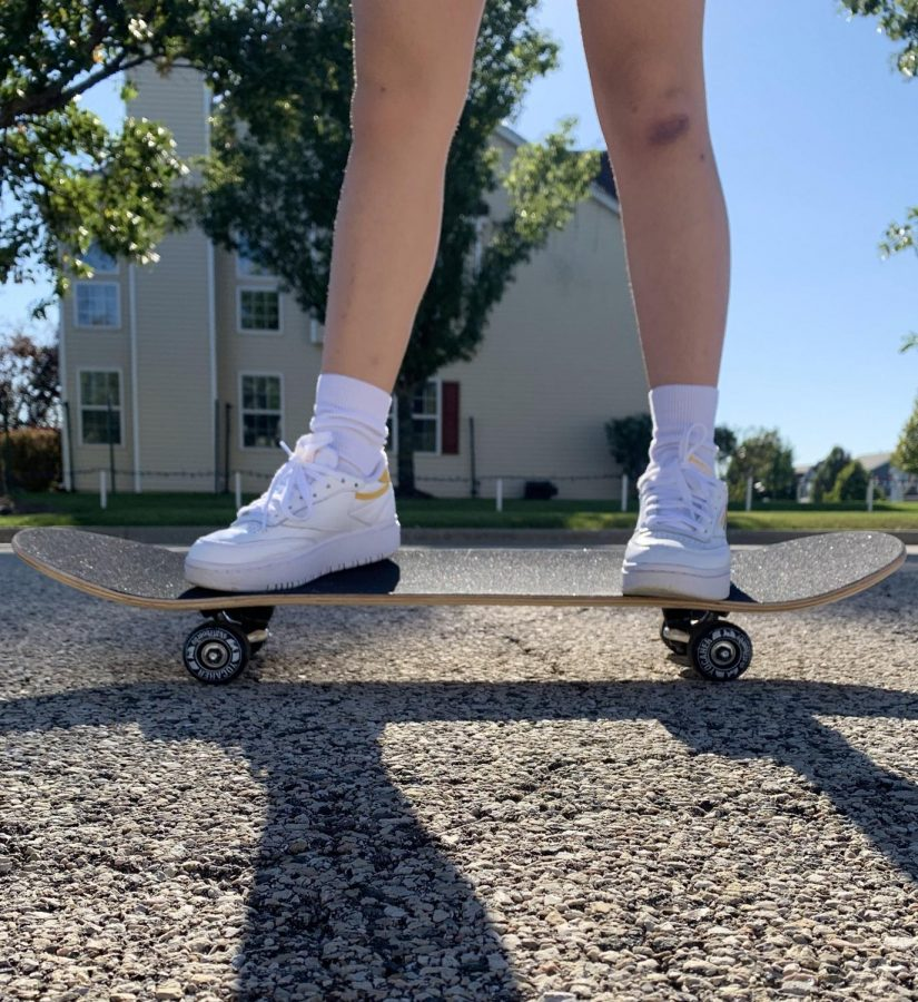 Self care and growth can come in many forms, including picking up a new hobby. Senior Ngoc Tran challenged herself to learn how to skateboard regularly practices her skills.