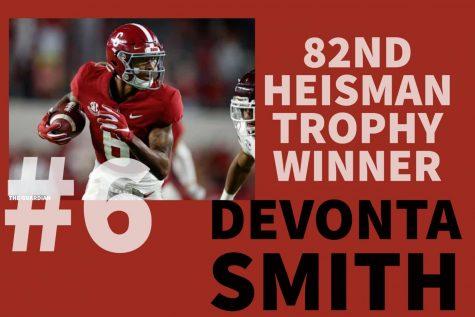 Alabama Crimson Tide junior wide receiver DeVonta Smith was awarded the 82nd Heisman Trophy on Tuesday, Jan. 5, 2021. Smith was the first wide receiver to win the trophy since 1991.