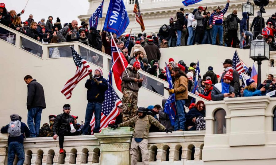 Trump's supporters broke past security measures to the steps and inside of the Capitol Building, waving Trump flags in the process.