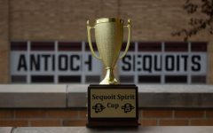 The Sequoit Spirit Cup sits with empty plaques on the sides, waiting to see what class will be the first to be commemorated for their spirit with the new ACHS tradition.