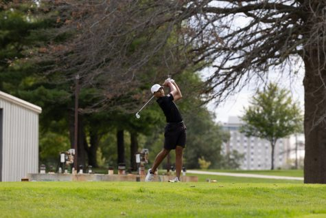 Junior Donald Barnett shooting off the tee box at state.