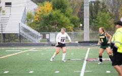 Senior Katie Quirke defends the goal.